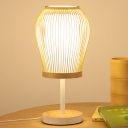 Bamboo Jar Desk Lamp Asian 1 Head Beige Task Lighting with Cylinder White Parchment Shade