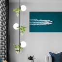 3 Heads Hanging Light Kit Industrial Linear Milk White/Smoke Grey Glass Chandelier Lamp in Black/Gold with Plant Deco