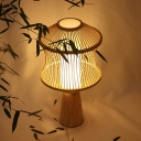 Asian Lantern Task Light Bamboo 1 Head Small Desk Lamp in Beige with Wood Conical Base