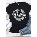 Simple Letter MELANIN Printed Short Sleeves Black Casual T-Shirt