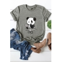 Funny Panda Pattern Rolled Short Sleeves Round Neck Cotton Summer T-Shirt