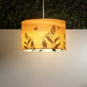 Wood Drum Hanging Light Chinese 1 Head Beige Pendant Lighting Fixture with Flower Pattern