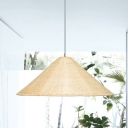 Bamboo Hand-Woven Pendant Light Chinese 1 Head Suspended Lighting Fixture in Beige
