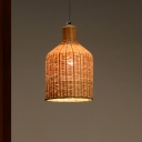 Bamboo Handcrafted Pendant Lighting Japanese 1 Head Ceiling Suspension Lamp in Flaxen