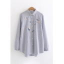 New Fashion Sprite and Star Embroidery Pattern Long Sleeve Button Up Oversized Striped Shirt