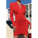 Womens Fashion V Neck Pleated Front Leg-of-mutton Sleeve Plain Club Dress