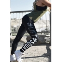 Creative Letter LIFT Printed Black Leggings Skinny Yoga Pants for Women