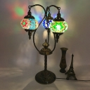 Gooseneck Arm Bar Table Light Vintage Metal 3/5 Bulbs Brass Night Lamp with Oval White-Green-Yellow Stained Glass