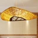 3 Heads Hand-Worked Chandelier Lighting Chinese Bamboo Ceiling Suspension Lamp in Beige