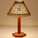 Conical Bamboo Task Light Asia 1 Head Red Brown Small Desk Lamp with Wood Hexagon Base