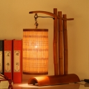 Tubular Bamboo Desk Lamp Chinese 1 Head Red Brown Task Lighting with Half-Cylinder Wood Base