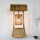 Japanese 1 Head Task Lighting Khaki Laser Cut Small Desk Lamp with Bamboo Shade