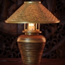 1 Head Living Room Desk Lamp Chinese Brown Task Light with Wide Flare Bamboo Shade