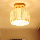 Hand Woven Semi Flush Mount Chinese Bamboo 1 Head Ceiling Mounted Light in Beige