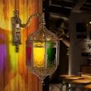 Brass Lantern Wall Lighting Art Deco Metal 1 Bulb Restaurant Sconce Light Fixture