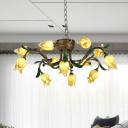Brass 12 Heads Chandelier Lighting Traditionalism Metal Tulip LED Pendant Ceiling Light for Living Room