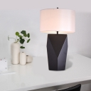 Contemporary 1 Bulb Desk Light Black Cylindrical Task Lighting with Fabric Shade