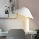 1 Head Living Room Desk Lamp Modern White Task Light with Wide Flare Metal Shade