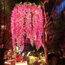 1-Head Metal Ceiling Lamp Antique Pink/Purple/Green Birdcage Restaurant LED Pendant Light Fixture with Flower