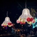 Chrome 1 Bulb Pendant Lamp Antique Metal Gourd LED Flower Suspension Light for Restaurant