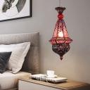 Copper 1 Light Pendant Lighting Traditional Metal Lantern Hanging Light Fixture for Restaurant