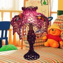 Scalloped Dining Room Table Lighting Art Deco Metal 1 Bulb White/Purple Nightstand Lamp