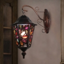 Traditional Lantern Wall Lighting Metal 1 Head Sconce Light Fixture in Black with Circle/Floral Crystal Deco