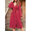 Red Elegant Polka Dot Printed Surplice Neck Bowtie Long Sleeves Tie Waist Midi Wrap Dress