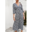 Leisure Navy Three-Quarter Sleeves V-Neck Button Down All-Over Floral Maxi A-Line Dress for Women