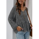 Fancy Blouson Sleeve V-Neck Button Down Ruffled Trim All-Over Floral Printed Loose Shirt