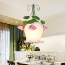 Green 1 Head Pendant Lamp Industrial Metal Flower Hanging Ceiling Light for Dining Room