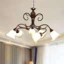 Milk Glass Brown Hanging Chandelier Bell 6 Lights Traditional Down Lighting Pendant for Living Room