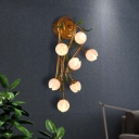 7 Bulbs Wall Light Sconce Traditional Living Room Wall Lighting Fixture with Tulip White/Pink/Yellow Glass Shade