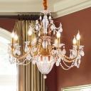 6/8 Lights Chandelier Lighting Rural Candelabra Clear Crystal Hanging Ceiling Light in Gold for Living Room