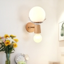 Modernist 2 Heads Sconce Light Wood Sphere Wall Mounted Lamp with Opal Glass Shade