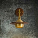 Brass Spherical Wall Lamp Contemporary 1 Head Metal Sconce Light Fixture with Round Wood Backplate