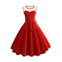 Vintage Women's Sleeveless Round Neck Bow Tie Waist Mesh Patched Midi Pleated Flared Dress