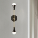 Pencil Arm Sconce Contemporary Metal 2 Heads Black and Gold Wall Mounted Light Fixture