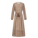 Beige Casual Long Sleeve Crew Neck Button Down Bow Tie Waist All Over Floral Print Long A-Line Dress for Women