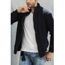 Mens Simple Plain Long Sleeve High Neck Zipper Placket Chunky Cardigan Knitwear