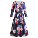 Elegant Ladies Long Sleeve Surplice Neck Bow Tie Waist All Over Floral Print Long Pleated Dress