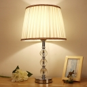 Minimal Conical Table Lamp 1 Head Crystal Bead Nightstand Light in White/Beige/Pink with Fabric Pleated Shade