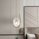 Clear Glass Oval Pendant Lighting Modernism 1 Head Hanging Ceiling Light in Gold