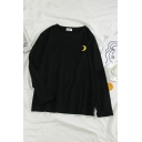Girls Fashion Moon Sun Lightning Cloud Embroidery Pattern Long Sleeve Casual Loose T-Shirt