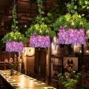 Metal Purple and Pink Chandelier House 12 Bulbs Vintage Drop Pendant for Restaurant