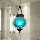 Art Deco Global Pendant Lighting 1 Head Blue/Orange Red Glass Hanging Ceiling Lamp for Corridor