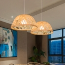 Asian 1 Head Pendant Lighting Beige Domed Hanging Ceiling Light with Rattan Shade