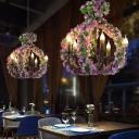 5 Lights Chandelier Lighting Fixture Industrial Candlestick Metal Hanging Lamp in Black with Flower Decoration