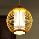Round Hanging Light Chinese Bamboo 1 Bulb Beige Suspended Lighting Fixture for Dining Room