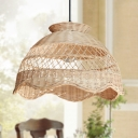 Handmade Bamboo Ceiling Lamp Japanese 1 Bulb Beige Pendant Light Fixture for Living Room